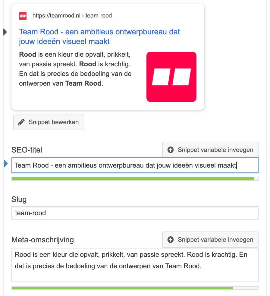 Yoast plugin Google preview