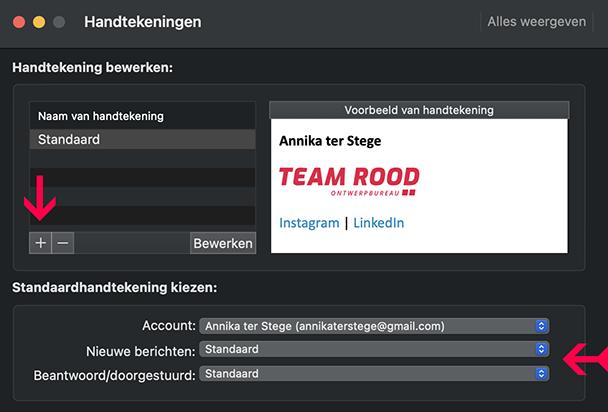 Outlook standaard e-mailhandtekening instellen